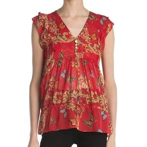 The Kooples Ruched Leaf & Butterfly-Print Silk Top